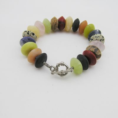 Multi color kwarts / agaat armband A MUL 021